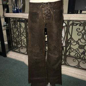 Guess? Vintage men's lace-up leather pants 31